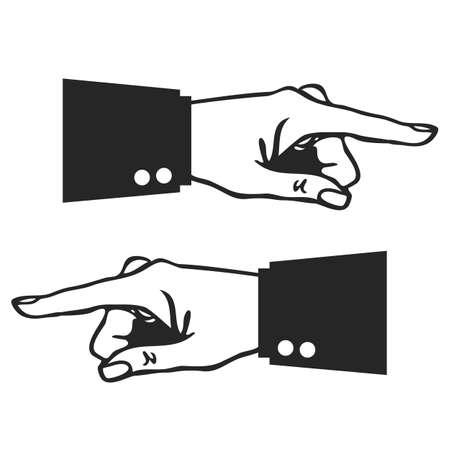 Hand with pointing finger, vector illustration on white background