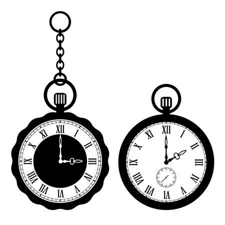 Old pocket watch vector icons set on white background