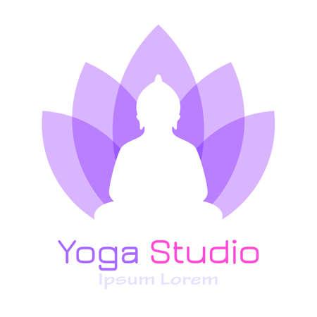 Yoga vector logo with lotus flower and meditating Buddha