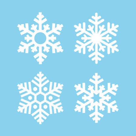 Snowflake silhouette vector icons set isolated on blue background