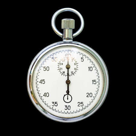 Vintage stop watch isolated over black background