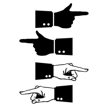 Hand and pointing finger vector icons set isolated on white background