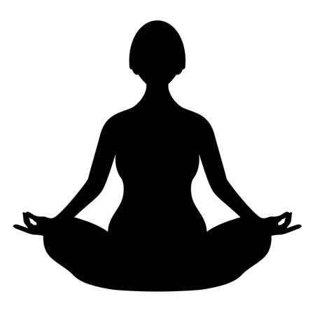 Meditating woman in lotus pose, vector silhouette isolated on white background