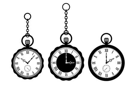 Pocket watch vector icons set isolated on white background