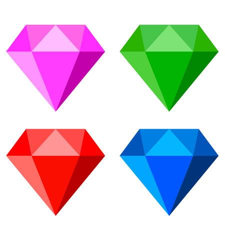 Gem stone web icons set, vector illustration over white