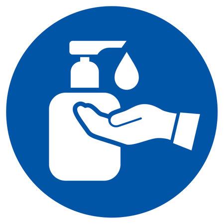 Liquid soap icon, wash your hands symbol on white background Vektorové ilustrace