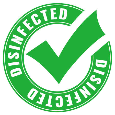 Green circular disinfected badge, vector illustration over white background