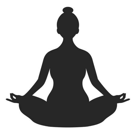 Woman practicing yoga, vector silhouette icon on white background Ilustrace