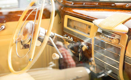 Classical retro car luxury interior, vintage automotive photo Reklamní fotografie