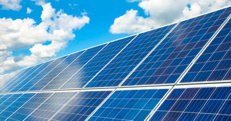 Solar panels and sun energy system, green energy concept
