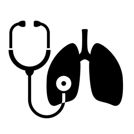 Lungs cancer diagnosis logo with stethoscope, vector illustration on white background