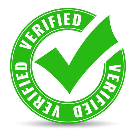 Verified circle icon with green tick, vector emblem on white background