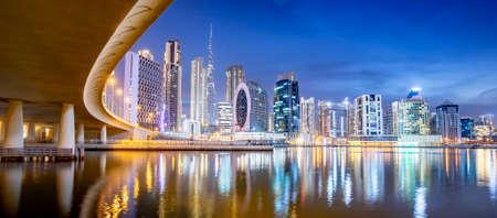 Dubai skyline at night, Business Bay district, United Arab Emirates