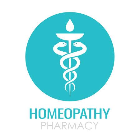 Homeopathy medical logo, pharmacy vector symbol on white background