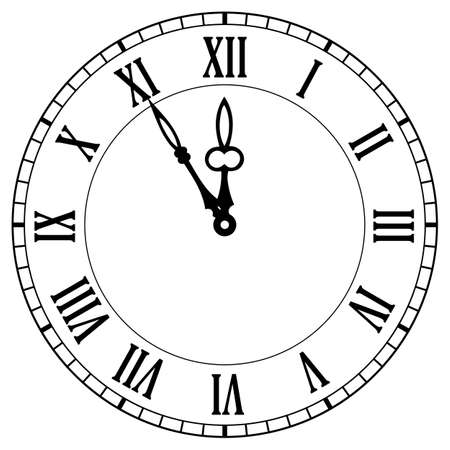 Old clock face vector icon on white background, time is five minutes to twelve