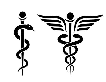 Snake medical icon, caduceus vector sign set isolated on white background