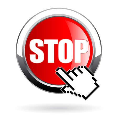 Stop vector button on white background 免版税图像 - 164414066