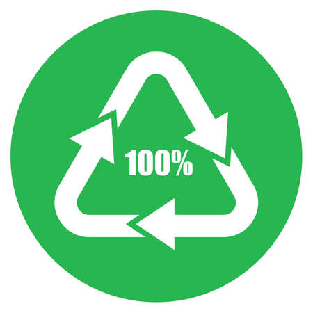 Recycled material vector icon on white background