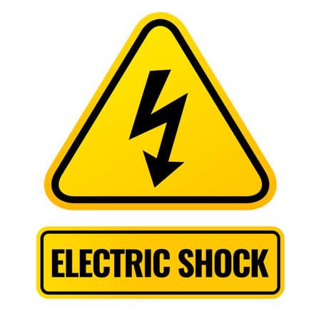 Electric shock warning sign with lightning symbol, vector illustration on white background Vector Illustration