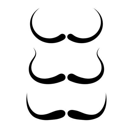 Thin moustaches vector icons isolated on white background