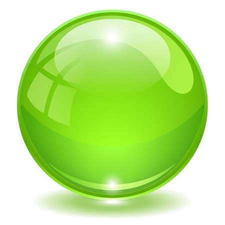 Green glass ball vector illustration isolated on white background Vektoros illusztráció