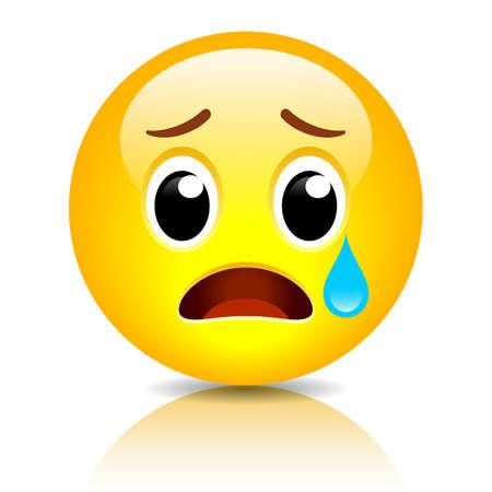 Sad emoji, crying vector emoticon isolated on white background