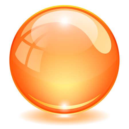 Orange glass ball vector illustration isolated on white background