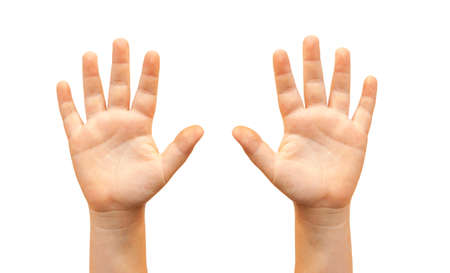 Two raised hands isolated on white background