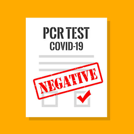 Covid-19 pcr test negative result, vector illustration Vektorgrafik