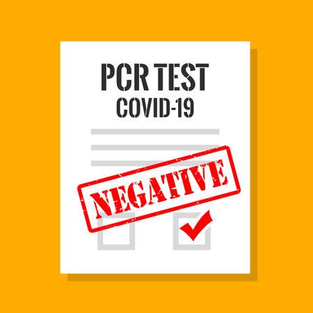 Covid-19 pcr test negative result, vector illustration Vektoros illusztráció