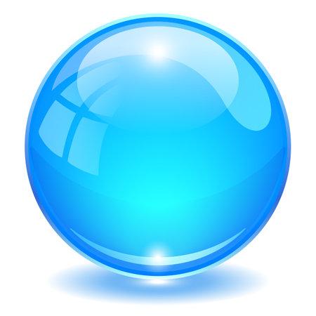 Blue glass ball vector illustration isolated on white background Vettoriali