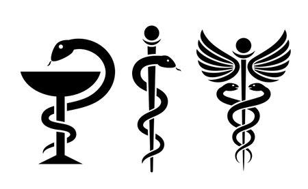 Medical snake vector icons set, caduceus logo isolated on white background