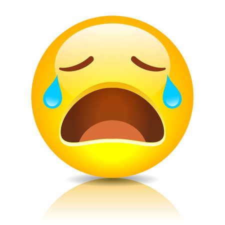 Sad crying emoticon isolated on white background