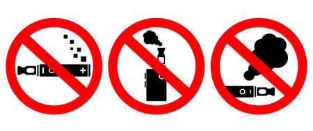No vape smoking vector signs set isolated on white background Vektorové ilustrace