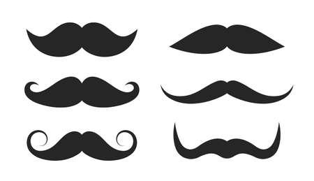 Retro style moustache collection isolated on white background Ilustração Vetorial