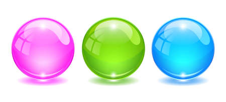 3d glass ball, vector cartoon isolated on white background