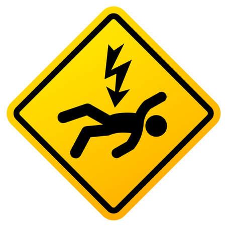 High voltage danger, electric shock sign on white background 일러스트