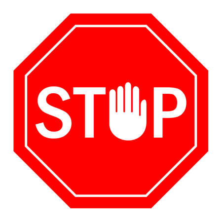 Stop hand sign isolated on white background