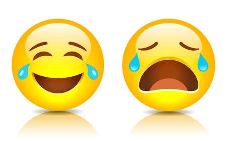 Sad and smiling emoji, vector cartoons on white background