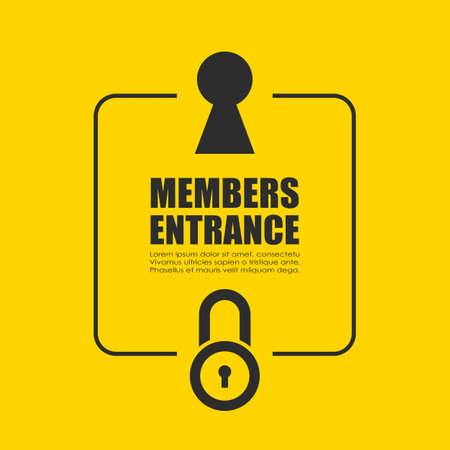 Members entrance vector poster, password protected zone
