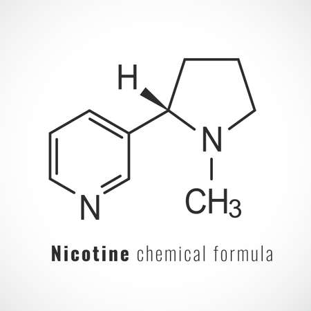 Nicotine chemical formula, vector icon on white background