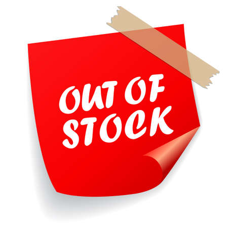 Out of stock vector label isolated on white background