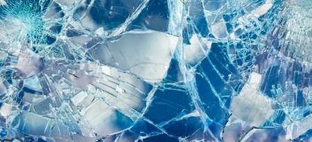 Wide texture of car broken glass, window cracks background