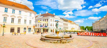 Tartu, Estonia - 12 July 2021: Panorama of Tartu old town 에디토리얼