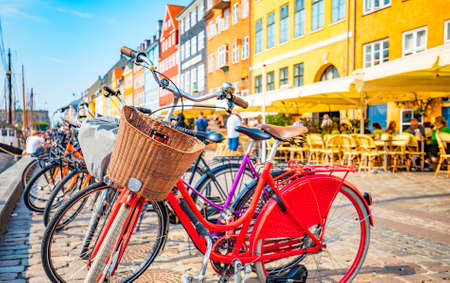 Copenhagen old town, Nyhavn harbour, selective focus on bicycle