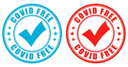 Covid free vector labels isolated on white background
