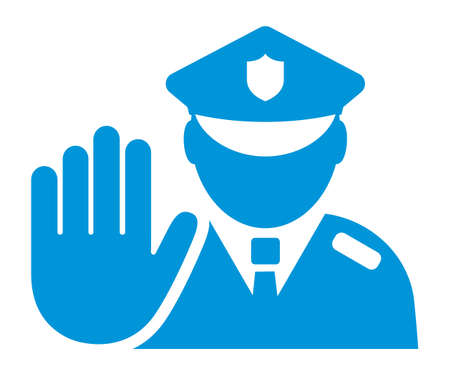 Policeman icon, police patrol vector sign isolated on white background