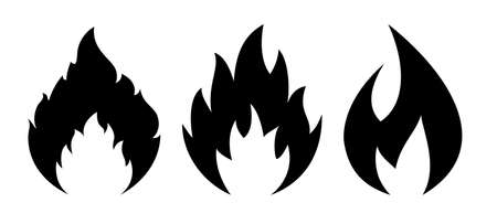 Flame vector icons set isolated on white background