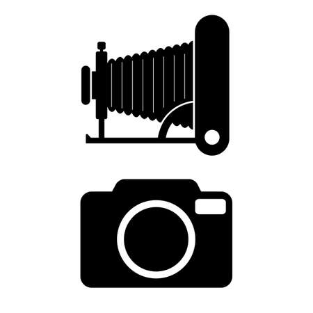 Old and modern photo camera vector icons on white background