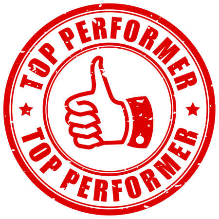 Top performer rubber stamp isolated on white background 일러스트